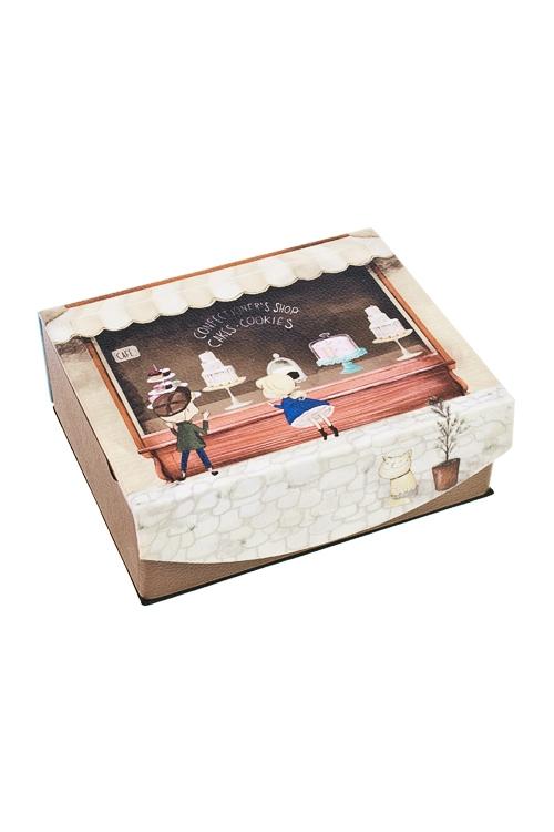 Шкатулка для ювелирных украшений Мечта сладкоежкиШкатулки для украшений<br>15*13*6см, искусств. кожа, полиэстер<br>