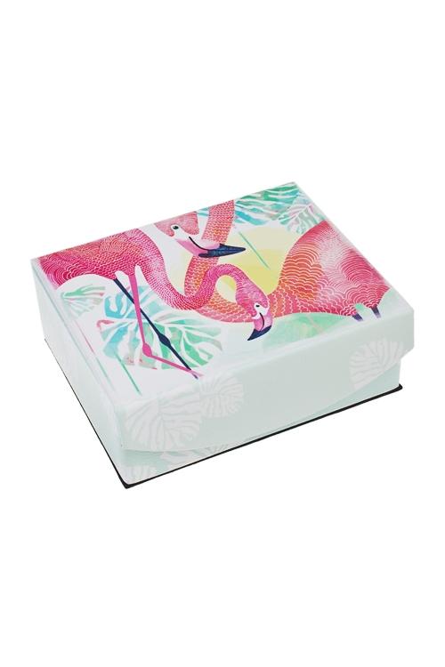 Шкатулка для ювелирных украшений ФламингоШкатулки и наборы по уходу<br>15*13*6см, искусств. кожа, полиэстер, розово-голубая<br>