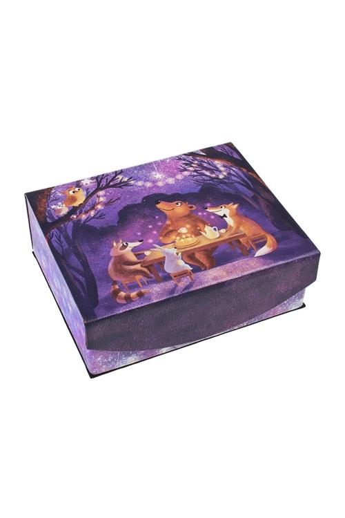 Шкатулка для ювелирных украшений Сказочный лес15*13*6см, искусств. кожа, полиэстер, фиолет.<br>