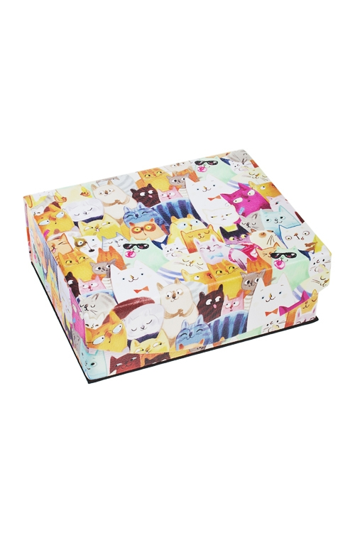 Шкатулка для ювелирных украшений Разноцветные котыШкатулки для украшений<br>15*13*6см, искусств. кожа, полиэстер<br>