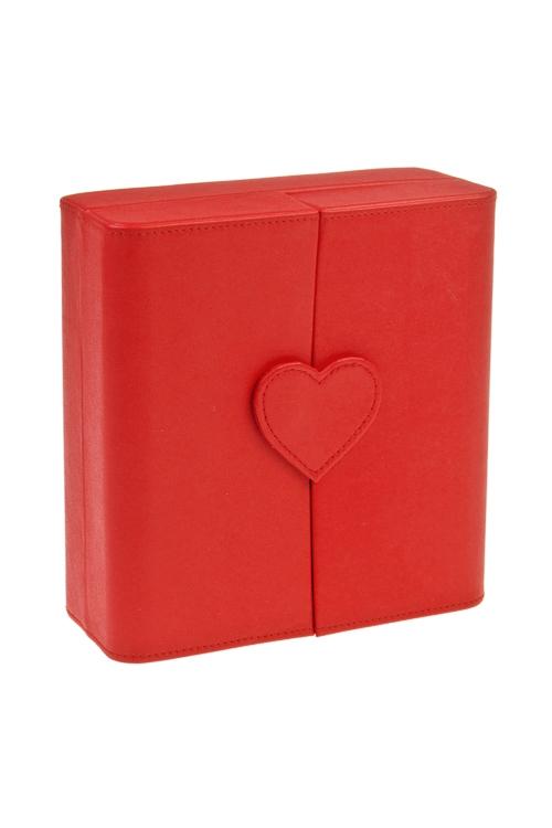 Шкатулка для ювелирных украшений СердцеШкатулки и наборы по уходу<br>18*19*8см, искусств. кожа, текстиль, красная<br>