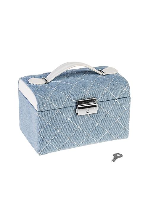 Шкатулка для ювелирных украшений ДжинсШкатулки для украшений<br>16*10*11см, текстиль, полиэстер, голубая<br>