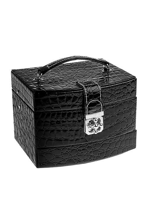 Шкатулка для ювелирных украшений СафариШкатулки для украшений<br>19*15*13см, искусств. кожа, полиэстер, черная<br>