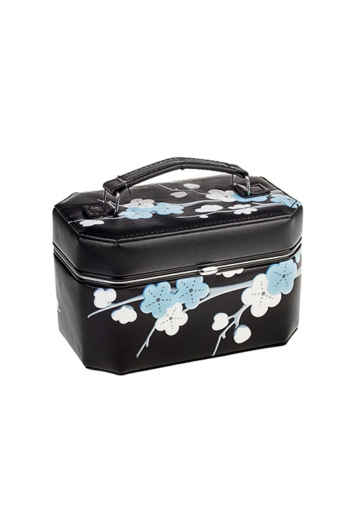Шкатулка для ювелирных украшений СакураШкатулки и наборы по уходу<br>17*10*11см, искусств. кожа, полиэстер, черная<br>