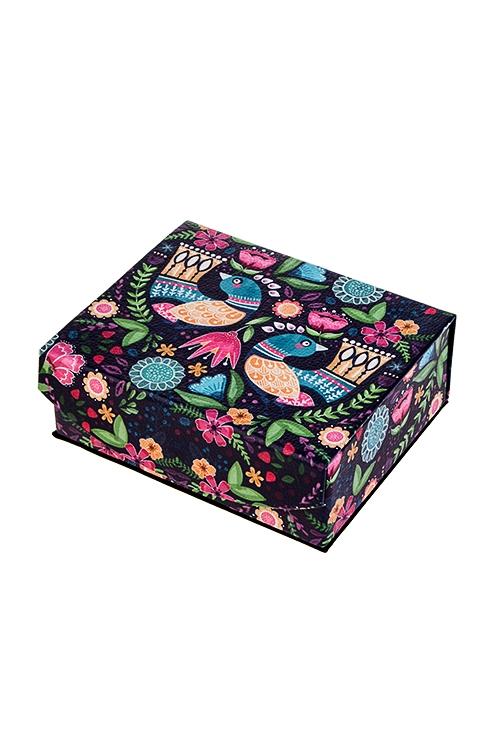 Шкатулка для ювелирных украшений Волшебные птицыШкатулки и наборы по уходу<br>15*13*6см, искусств. кожа, полиэстер<br>