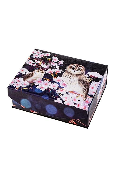 Шкатулка для ювелирных украшений  Совы в цветах сакуры  - артикул:6fa90e