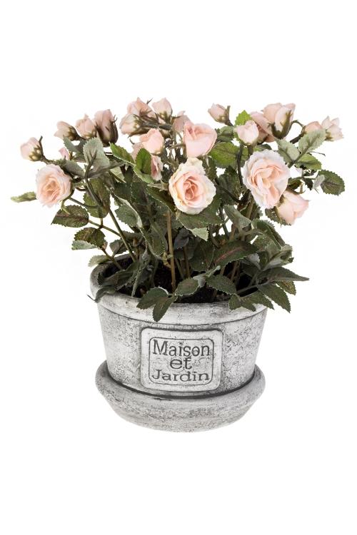 Композиция декоративная Чайная розаИнтерьер<br>Выс=20см, текстиль, пластм., бум., пенопласт<br>