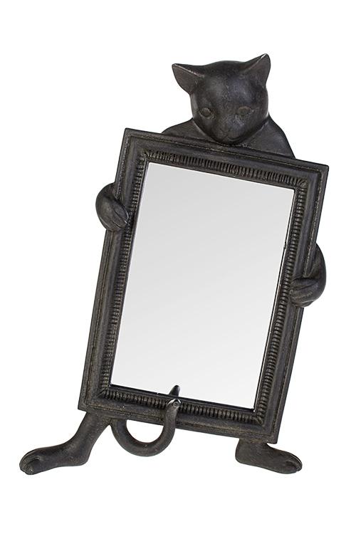 Зеркало настольное Любопытный котикЗеркальца и таблетницы<br>20*26см, полирезин, стекло, черное<br>