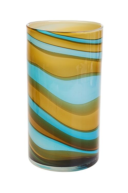 Ваза декоративная Потоки светаСтеклянные вазы и кашпо<br>Выс=26м, стекло, голубо-желтая<br>