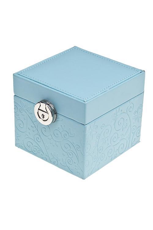 Шкатулка для ювелирных украшений ЛазурьШкатулки для украшений<br>12*12*10см, искусств. кожа, голубая, с зеркалом<br>