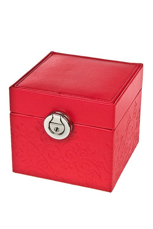 Шкатулка для ювелирных украшений ЗакатШкатулки для украшений<br>12*12*10см, искусств. кожа, красная, с зеркалом<br>