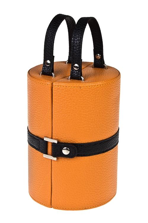 Шкатулка для ювелирных украшений СумочкаШкатулки для украшений<br>17*12см, ПВХ, оранж.-черная<br>