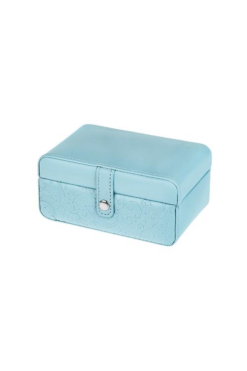 Шкатулка для ювелирных украшений Волшебные цветыШкатулки и наборы по уходу<br>14.5*8.5*6.5см, ПВХ, голубая, с зеркалом<br>