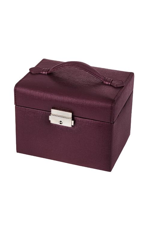 Шкатулка для ювелирных украшений МерцаниеШкатулки для украшений<br>15.5*12*12см, ПВХ, фиолет., с зеркалом<br>