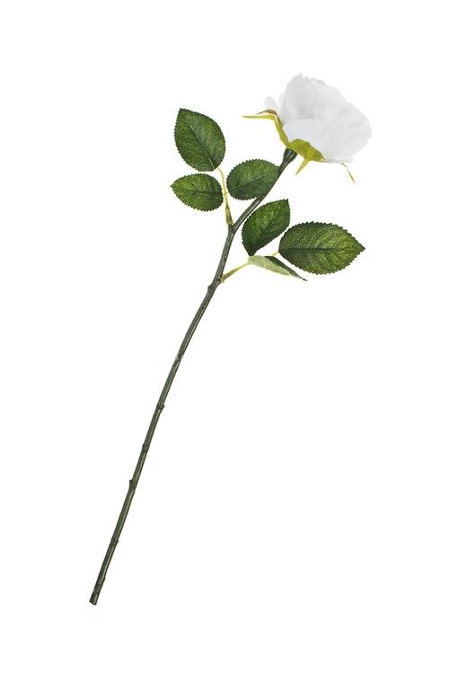 Цветок декоративный Садовая розаИнтерьер<br>Выс=43см, полиэстер, пласт., металл, пенопласт, белый<br>