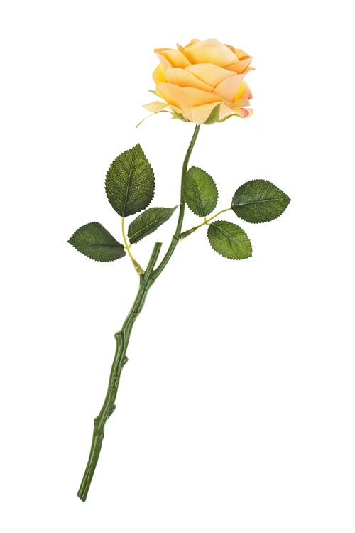 Цветок декоративный Цветущая розаДекоративные цветы<br>Выс=39см, полиэстер, пласт., металл, пенопласт, оранж.<br>