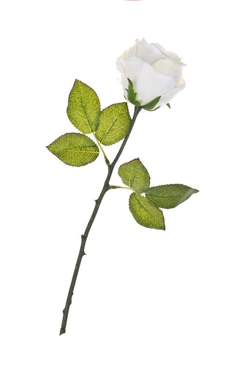 Цветок декоративный Пышная розаИнтерьер<br>Выс=36см, полиэстер, пласт., металл, пенопласт, бело-розовый<br>