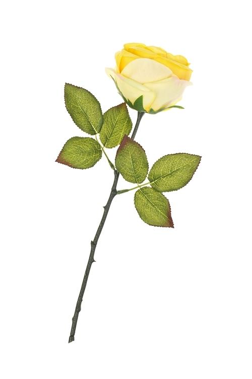Цветок декоративный Прекрасная розаДекоративные цветы<br>Выс=36см, полиэстер, пласт., металл, пенопласт, желтый<br>