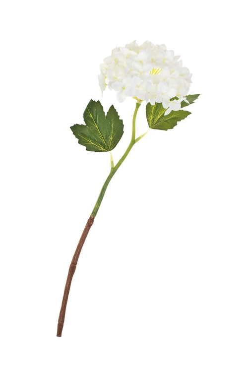 Цветок декоративный ГортензияДекоративные цветы<br>Выс=37см, полиэстер, пласт., металл, белый<br>