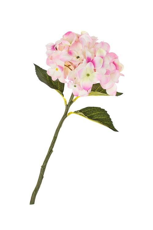 Цветок декоративный ГортензияИнтерьер<br>Выс=36см, полиэстер, пласт., металл, бело-розовый<br>