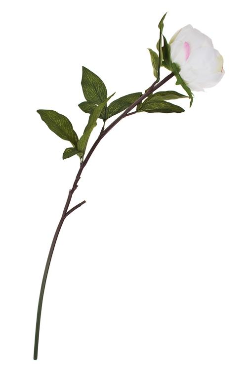 Цветок декоративный Пышный пионИнтерьер<br>Выс=63см, полиэстер, пласт., металл, бело-розовый<br>