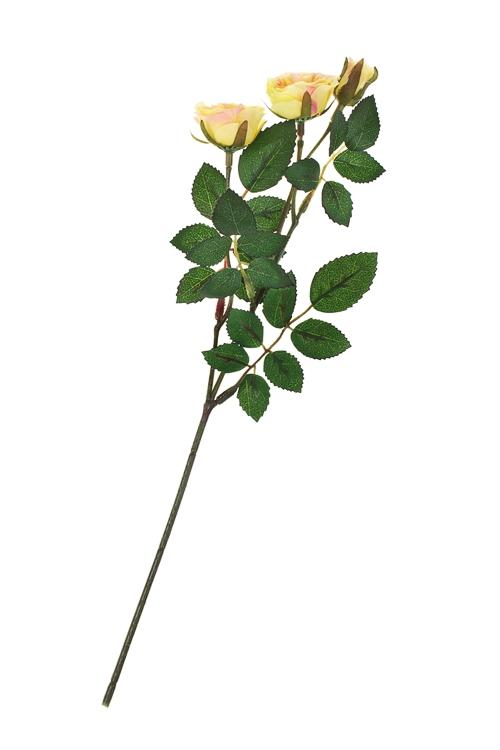 Ветка декоративная Кустовая розаИнтерьер<br>Выс=35см, полиэстер, пласт., металл, оранж.<br>