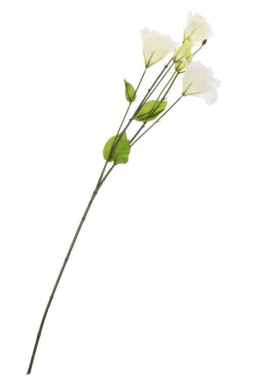 Ветка декоративная ЭустомаДекоративные цветы<br>Выс=74см, полиэстер, пласт., металл, пенопласт, зелено-белая<br>