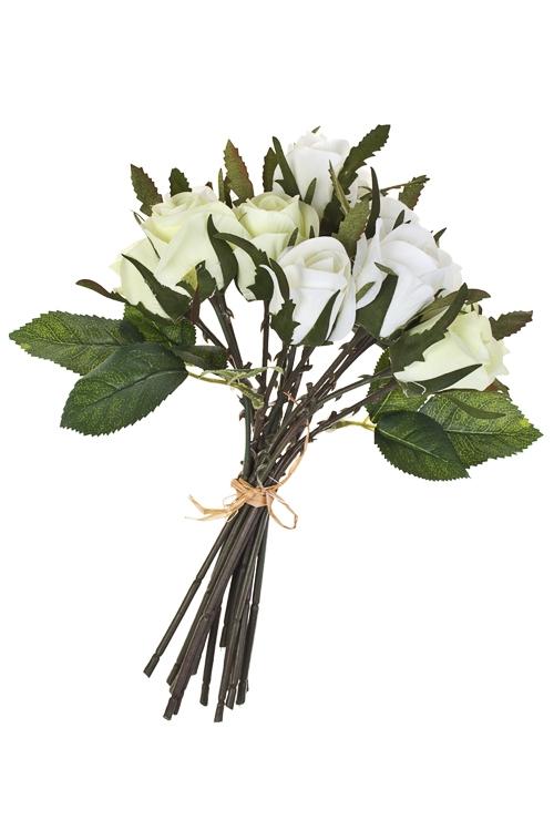 Композиция декоративная Букет из розДекоративные цветы<br>Выс=24см, полиэстер, пласт., металл, пенопласт, белая<br>