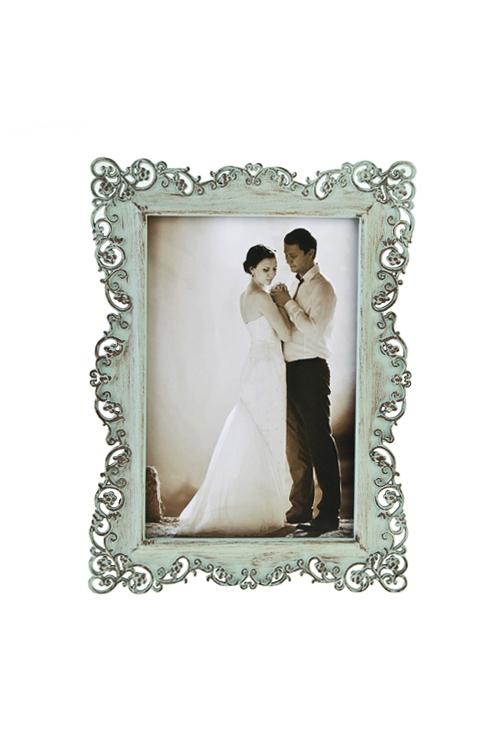 Рамка для фото РомантикаИнтерьер<br>19*14см, фото 10*15см, металл, мятная<br>