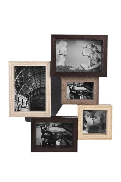 Рамка для 5-ти фото Европейский стильРамки для нескольких фото<br>31*28см, фото 9*13, 10*9, 8*5, 9*9см, пластм., стекло<br>