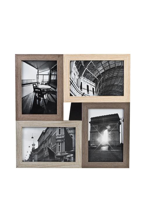 Рамка для 4-х фото Европейский стильИнтерьер<br>31*31см, фото 10*15см, пластм., стекло<br>