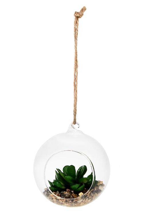 Композиция декоративная ЭониумДекоративные гирлянды и подвески<br>Выс=11см, стекло, пластм., зеленая, подвесная<br>