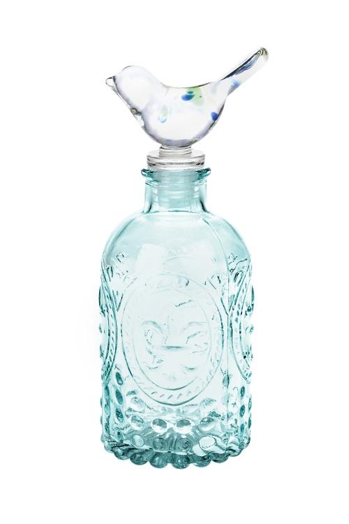 Бутылка декоративная ПтичкаЕмкости для сыпучих и для жидкостей<br>Выс=17см, стекло, мятная<br>