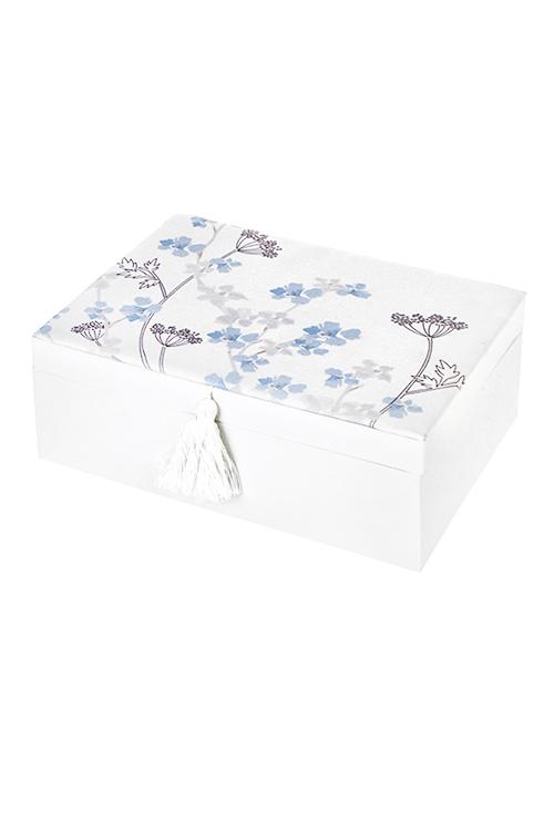 Шкатулка для ювелирных украшений ЦветыШкатулки и наборы по уходу<br>23*17*9см, текстиль, картон, бело-голубая<br>
