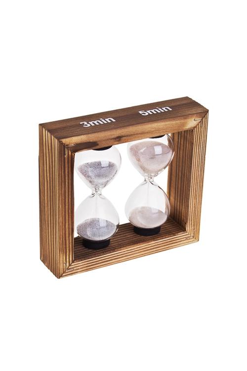 Часы песочные 3-5 минутИнтерьер<br>Выс=10см, стекло, дерево, беж.<br>
