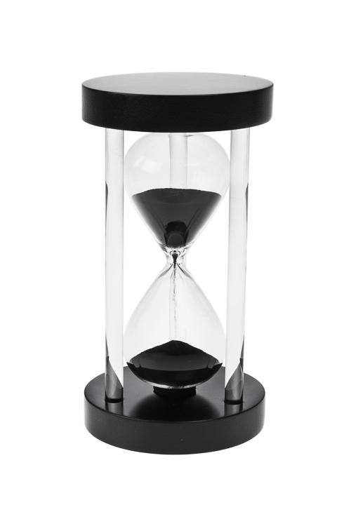 Часы песочные 5 минутПодарки ко дню рождения<br>Выс=15см, стекло, дерево, черные<br>