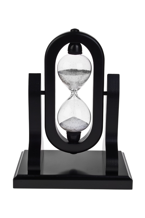 Часы песочные 5 минутИнтерьер<br>Выс=18см, стекло, МДФ, черно-белые<br>