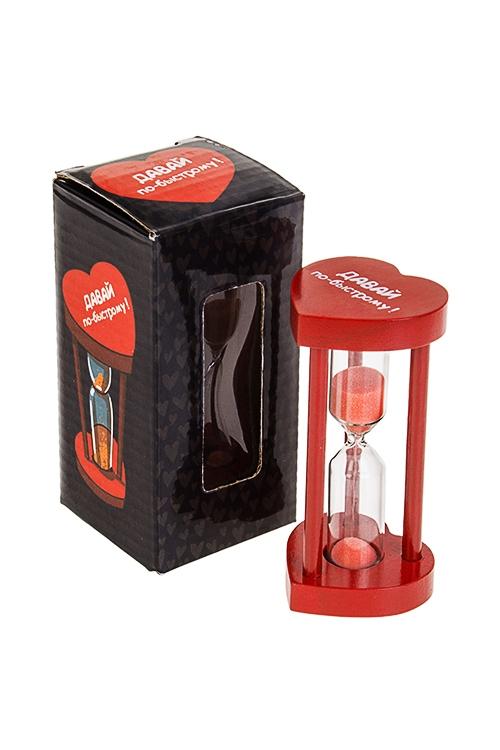 Часы песочные Давай по-быстромуИнтерьер<br>Выс=9см, стекло, МДФ, красные (3 минуты)<br>
