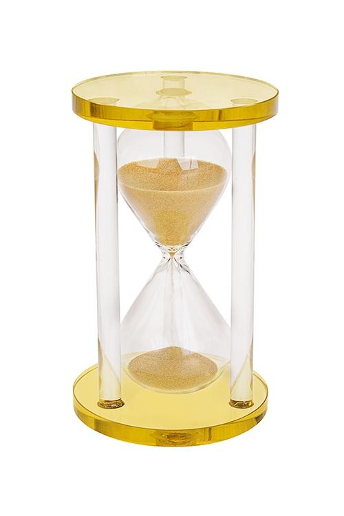 Часы песочные 5 минутИнтерьер<br>Выс=13см, стекло, акрил, золот.<br>