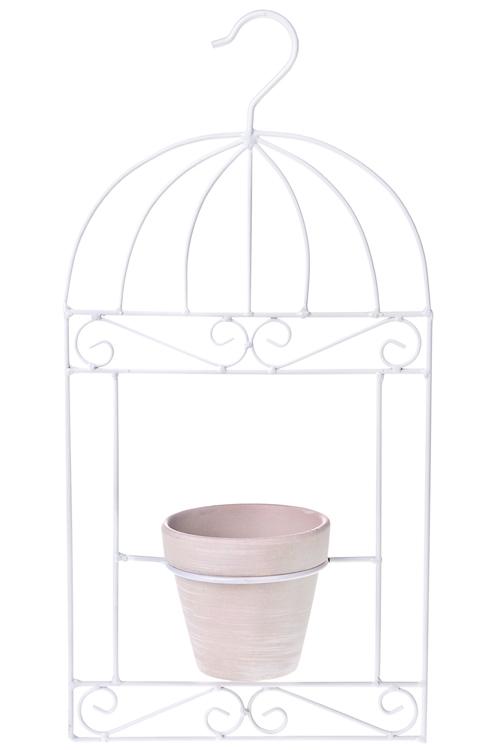 Кашпо садовое Птичья клеткаКашпо для цветов<br>22*43см, металл, керам., подвесное<br>