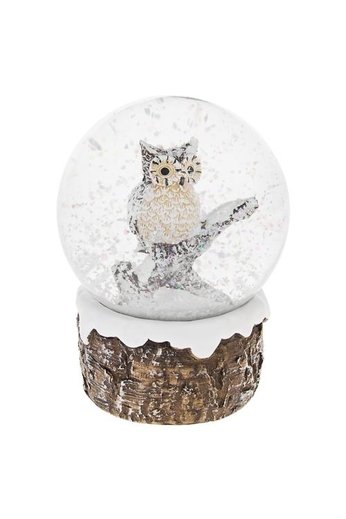 Шар со снегом СовушкаНовогодние сувениры<br>Выс=10.5см, полирезин, стекло<br>