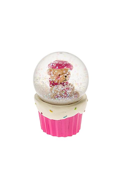 Украшение для интерьера Шар - Влюбленный мишкаФигурки и украшения на 14 февраля<br>Выс=6.5см, полирезин, стекло, крем.-розовое<br>