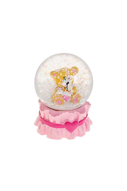 Украшение для интерьера Шар - Сладкий мишкаНовогодние сувениры<br>Выс=6.5см, полирезин, стекло, крем.-розовое<br>