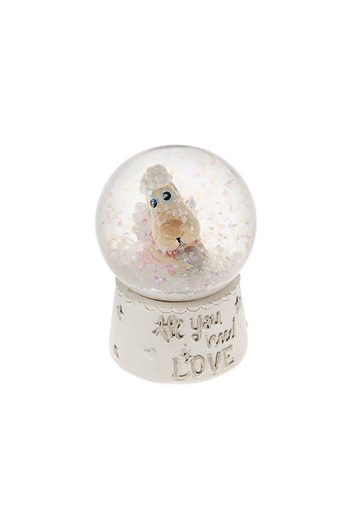 Украшение для интерьера Шар - ЛавлидогШары со снегом<br>Выс=6.5см, полирезин, стекло, крем.-розово-белое<br>