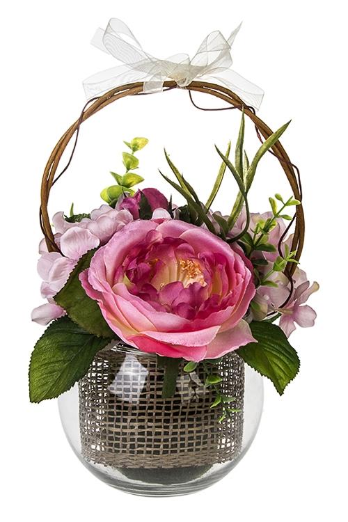 Композиция декоративная Чувство прекрасногоДекоративные цветы<br>Выс=24см, в стеклянном горшке<br>