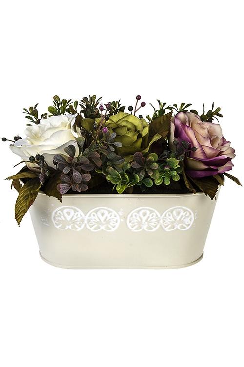 Композиция декоративная Весенний садИнтерьер<br>24*16см, в кашпо<br>