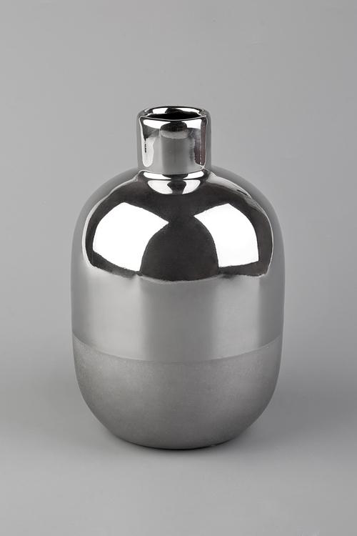 Ваза декоративная Блеск титанаПодарки ко дню рождения<br>Выс=20.5см, керам., серебр.<br>