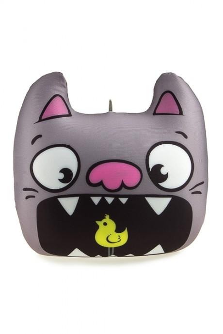 Подушка декоративная Кот с птичкойИнтерьер<br>30*28см, текстиль, серая<br>