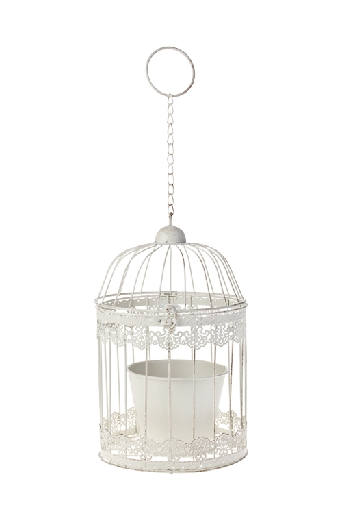 Кашпо садовое Птичья клеткаКашпо для сада и дачи<br>19*19*32см, металл, белое, подвесное<br>