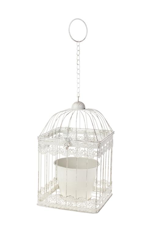 Кашпо садовое Птичья клетка - квадратКашпо для сада и дачи<br>18*18*32см, металл, белое, подвесное<br>